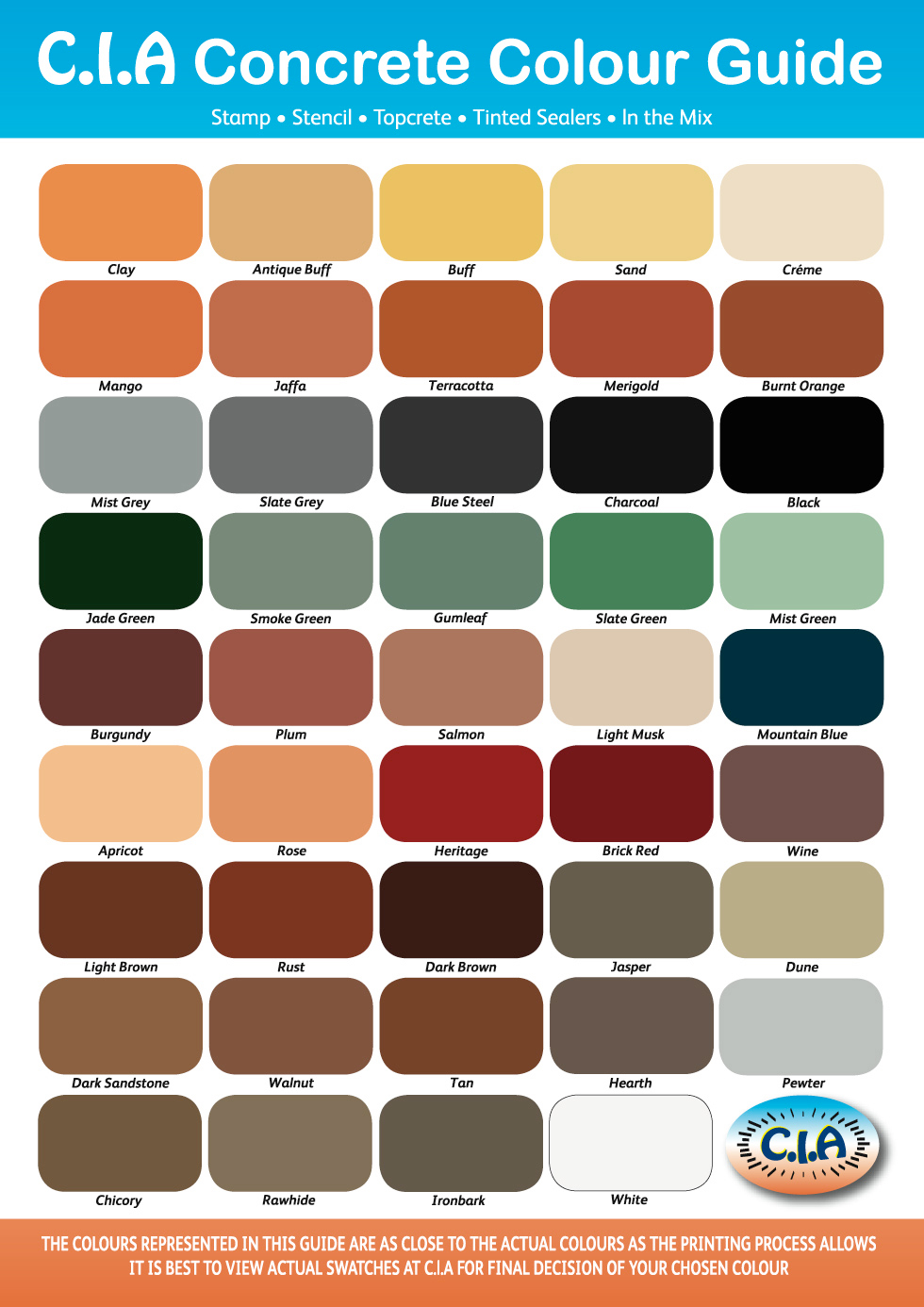 CIA colour-chart